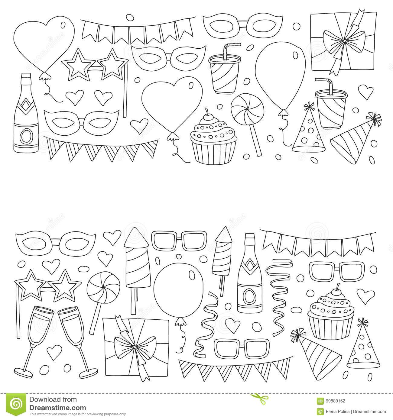 birthday party pictures for drawing ; set-birthday-party-design-elements-kids-drawing-doodle-icons-colorful-balloons-flags-confetti-cupcakes-gifts-cupcake-candles-99880162