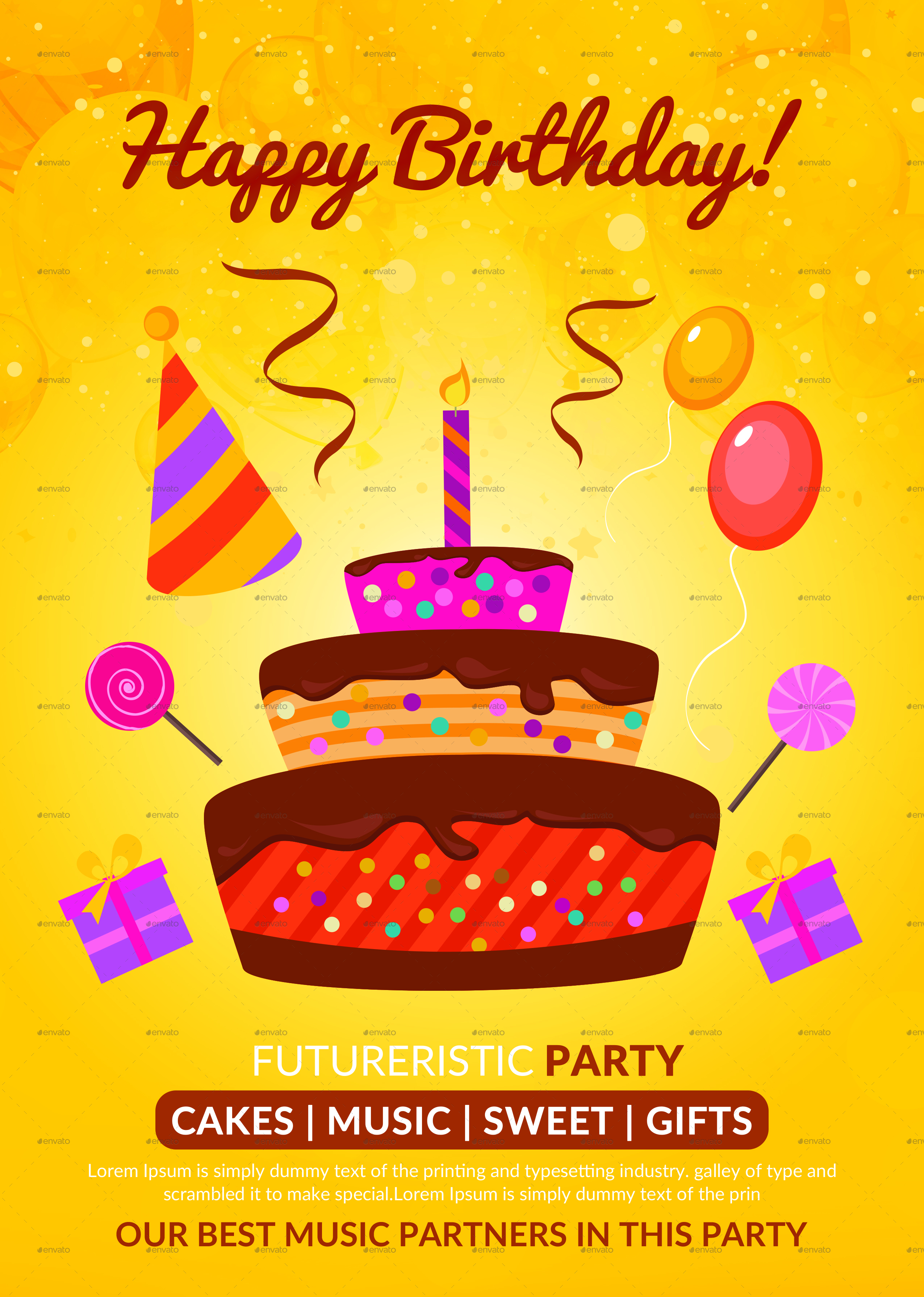 birthday party poster ; 2