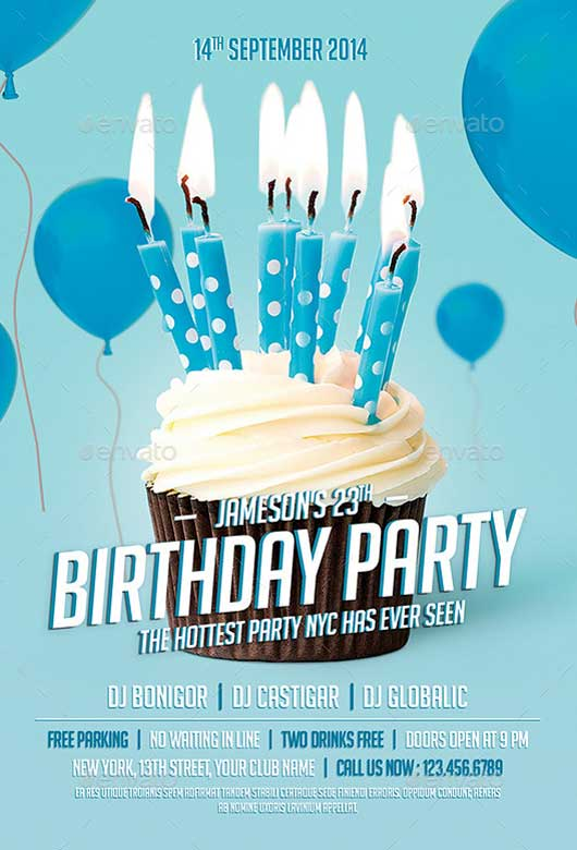 birthday party poster ; Birthday-Party-Celebration-Flyer-Template-Awesomeflyer-com