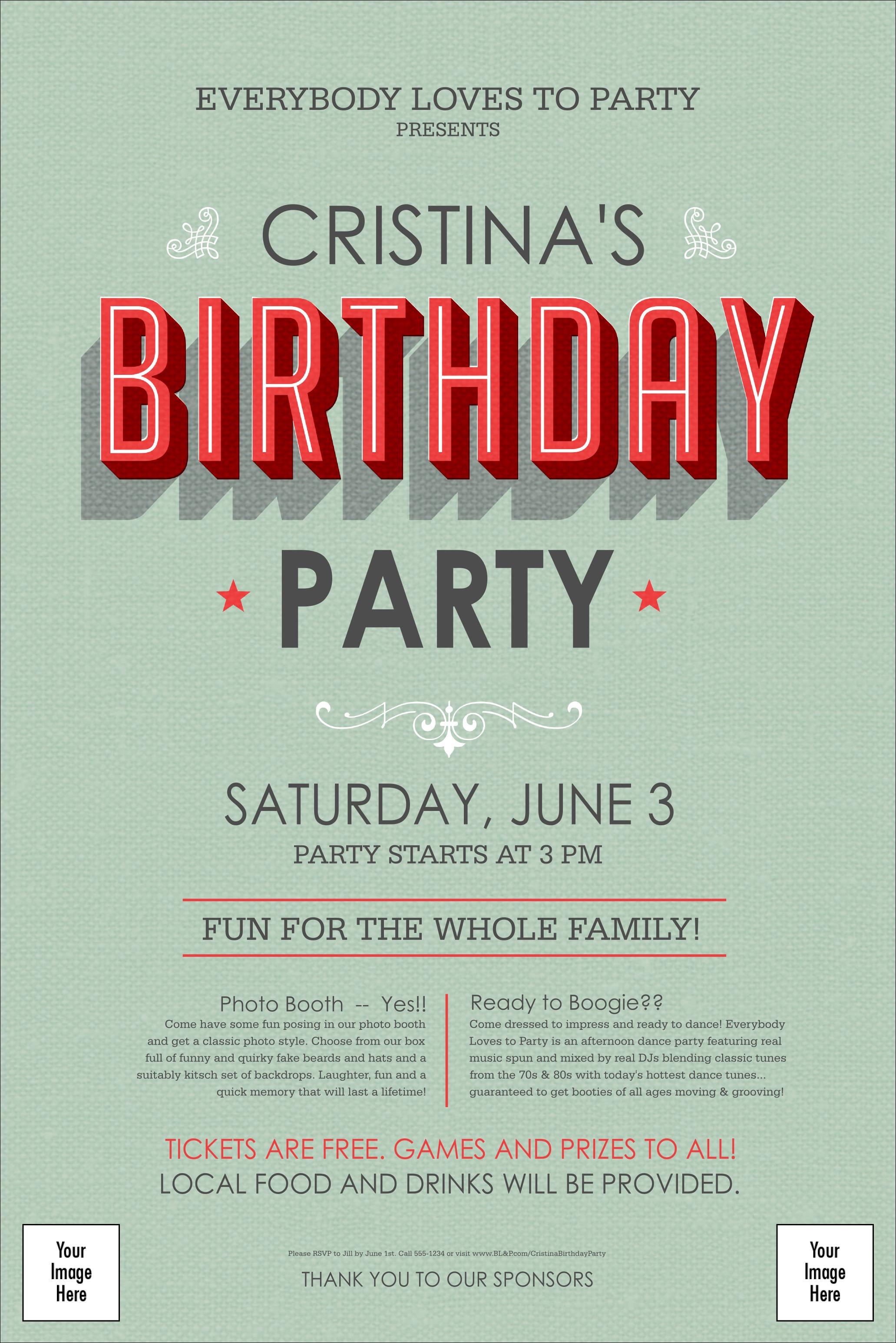 birthday party poster ; Birthday-Party-Green-Poster__front