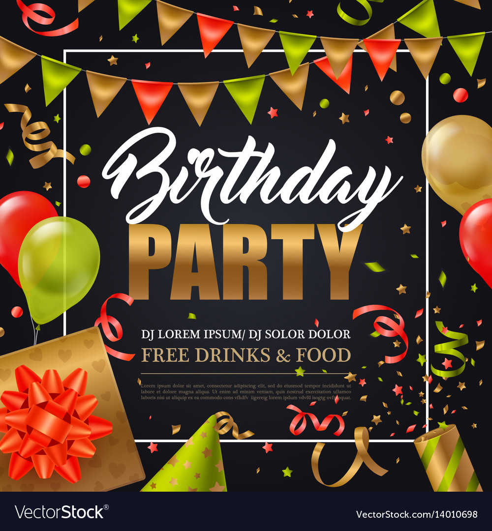 birthday party poster ; birthday-party-poster-vector-14010698