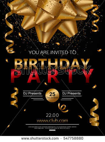 birthday party poster ; stock-vector-birthday-party-poster-with-red-gift-box-candle-and-confetti-vector-illustration-eps-format-547758880