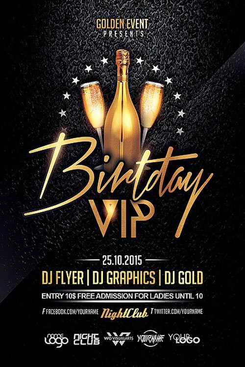 birthday party poster template ; BIRTHDAY-VIP-Flyer-Template-FFFlyer-com