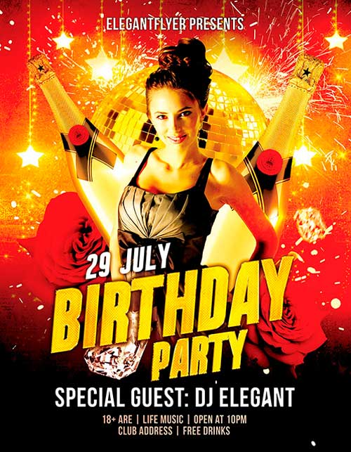 birthday party poster template ; Birthday-Party-Free-Flyer-PSD-Template-Facebook-Cover