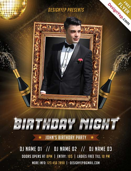 birthday party poster template ; Free-BirthDay-Flyer-PSD-Template-FreePSDFlyer-com