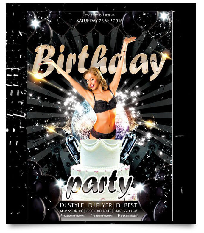 birthday party poster template ; birthday-party-flyer-free-psd