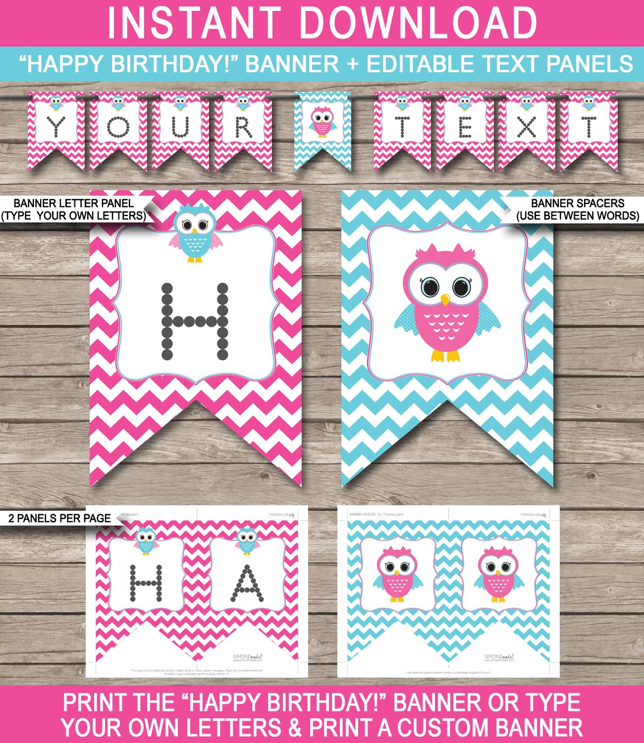 birthday photo banner template ; Owl-Banner-Happy-Birthday-Editable-text-Printable-Template-pink-aqua