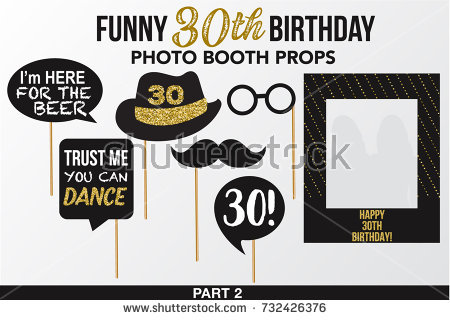 birthday photo booth props signs ; stock-vector-set-of-thirty-birthday-photobooth-vector-props-black-color-with-golden-glitter-elements-mustache-732426376