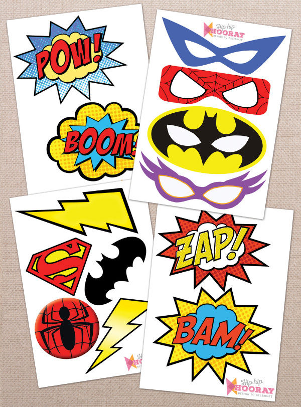 birthday photo booth signs ; Printable-Printed-Superhero-Comic-Book-Birthday-Party-Photo-Booth-Props-Signs-DIY-by-Hip-Hip-Hooray