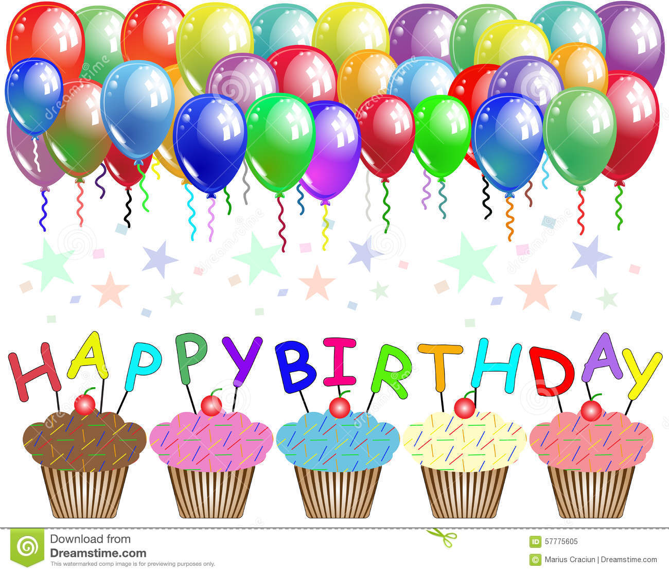 birthday poster ; happy-birthday-poster-card-balloons-cupcakes-57775605