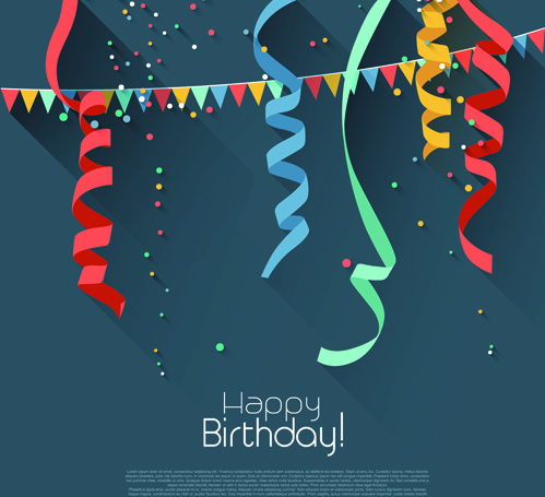 birthday poster background ; colored_confetti_with_happy_birthday_gray_background_vector_547422