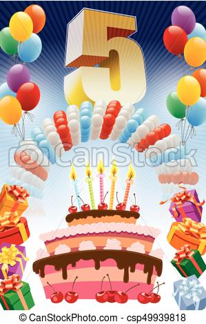 birthday poster background ; fifth-birthday-poster-vector-clip-art_csp49939818