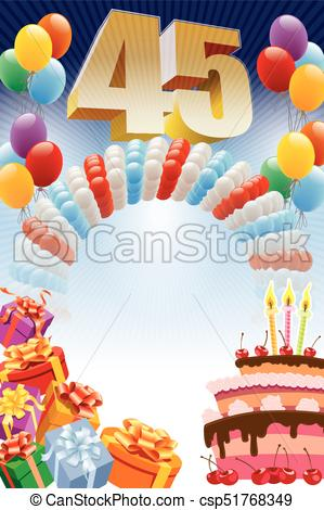 birthday poster background ; forty-fifth-birthday-poster-eps-vector_csp51768349