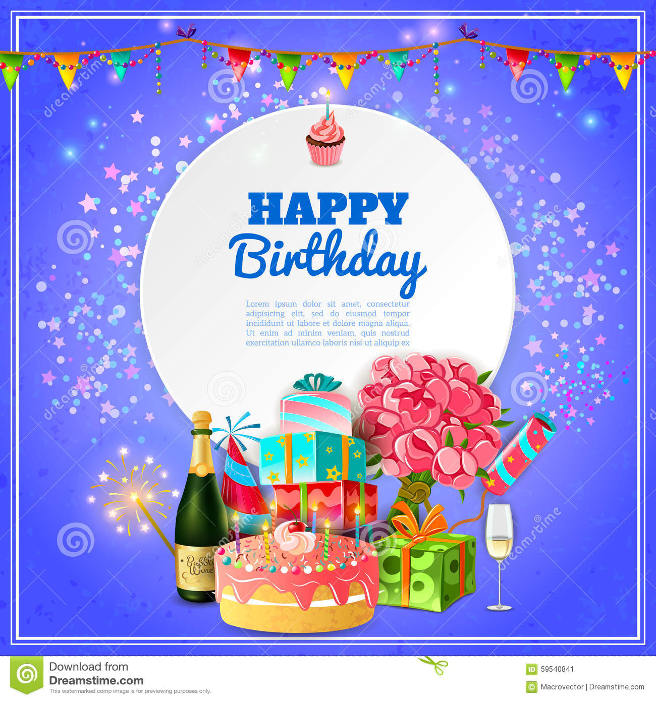 birthday poster background ; happy-birthday-party-background-poster-template-invitation-card-cake-champagne-decorations-abstract-vector-59540841