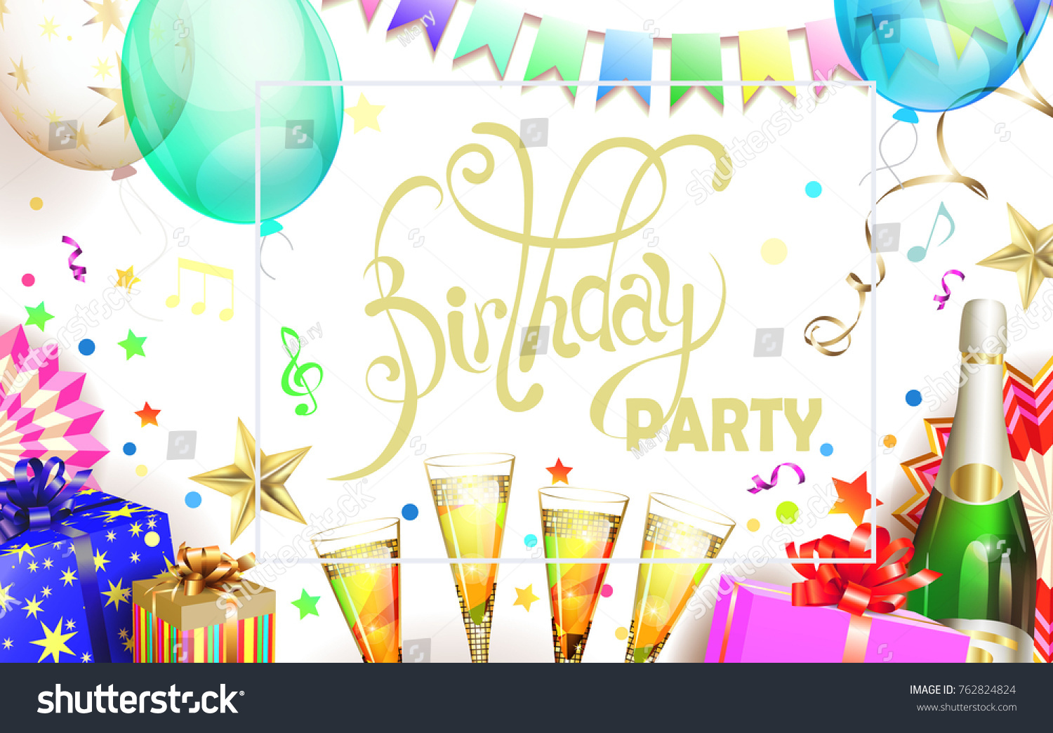 birthday poster background ; stock-vector-light-birthday-party-poster-background-with-balloon-gift-box-champagne-and-confetti-762824824