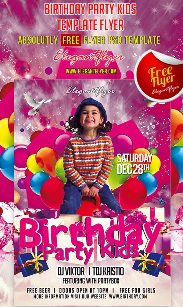 birthday poster photoshop ; birthday-party-kids-club-and-party-free-flyer-psd-template