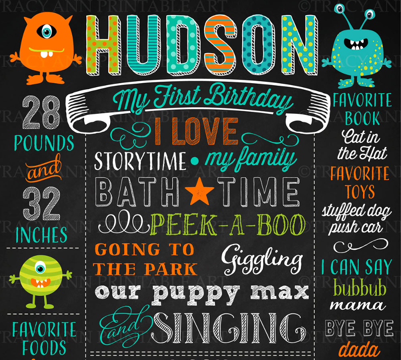birthday poster template ; 1st-birthday-chalkboard-poster-template