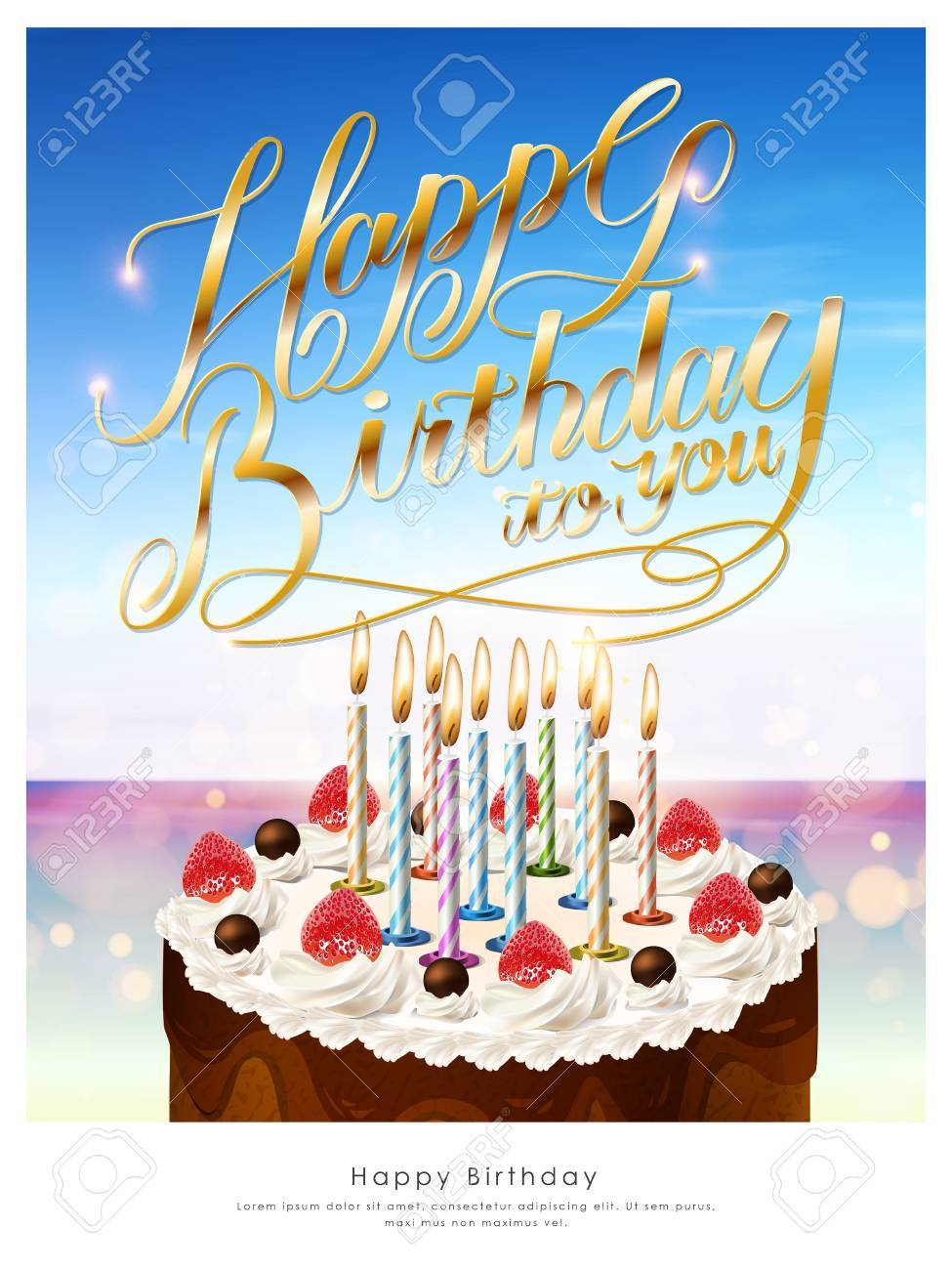 birthday poster template ; 55912063-happy-birthday-poster-template-design-with-delicious-cake
