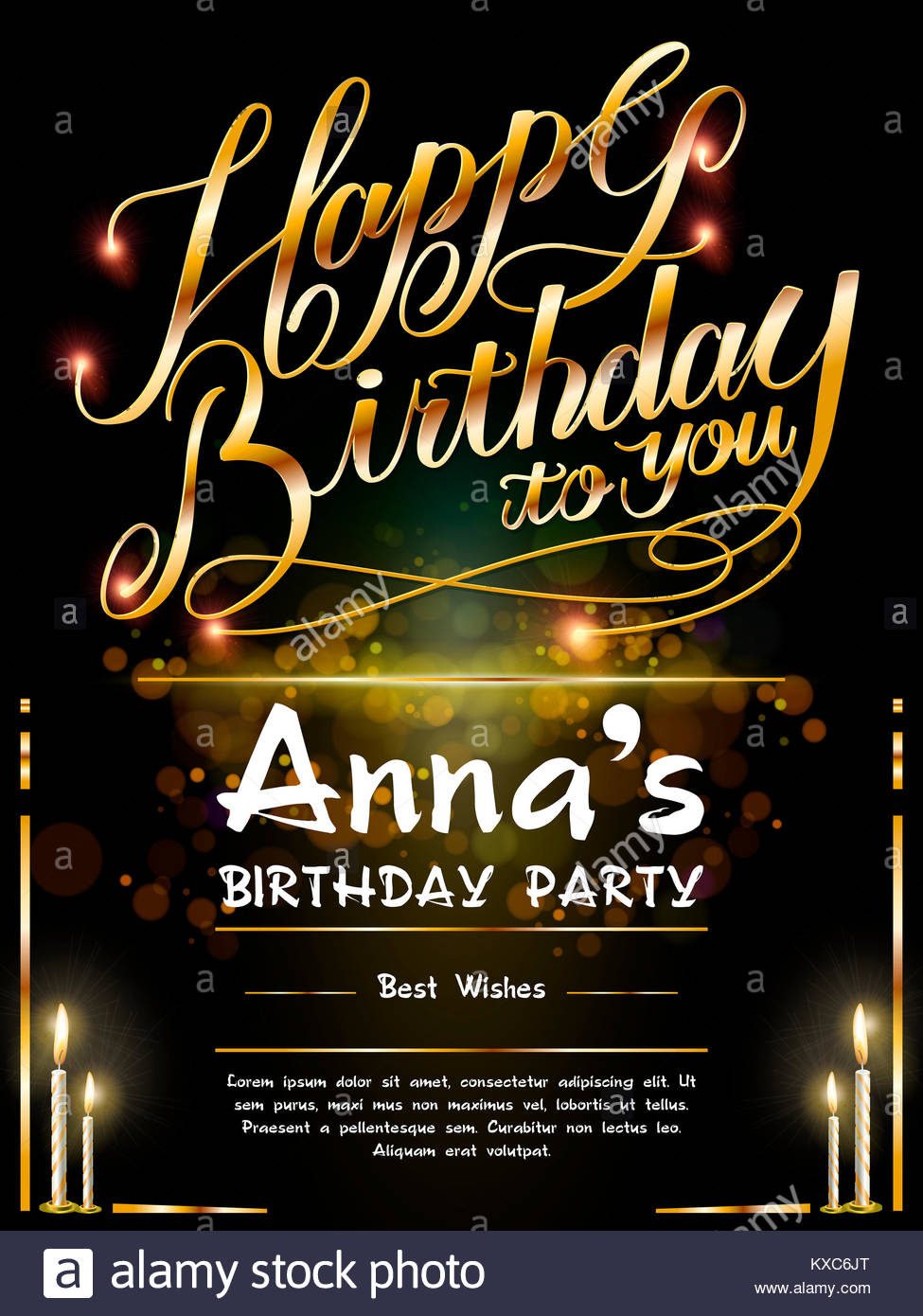 birthday poster template ; gorgeous-happy-birthday-poster-template-design-with-golden-words-KXC6JT