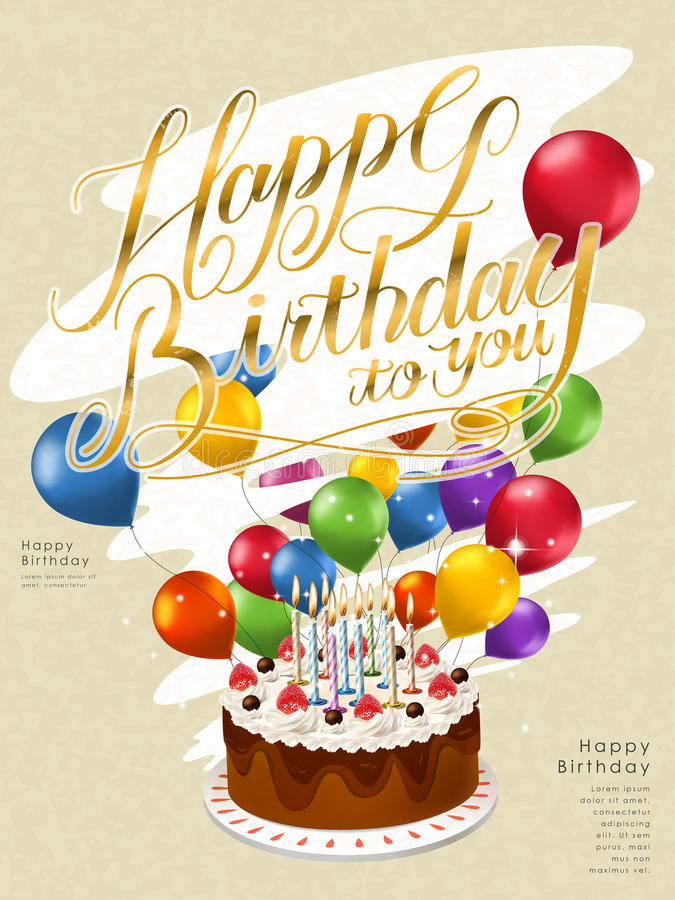 birthday poster template ; happy-birthday-poster-template-design-lovely-cake-balloons-70545478