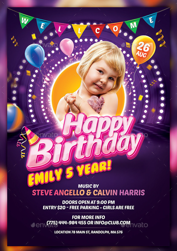 birthday poster template psd ; Candy-Birthday-Flyer-Template