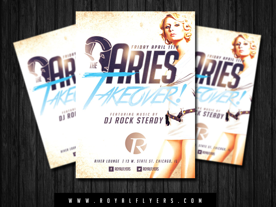 birthday poster template psd ; aries-horoscope-flyer-psd-template-download