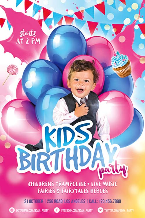 birthday poster template psd ; kids-bday-party-free-psd-flyer-template-freebie-freepsdflyer-com