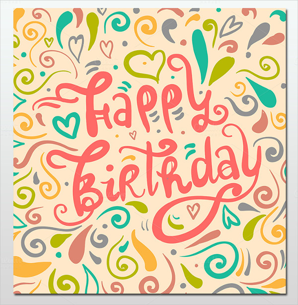 birthday poster template word ; Typography-Style-Happy-Greeting-Birthday-Card