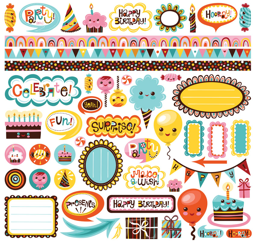 birthday stickers ; C_24602