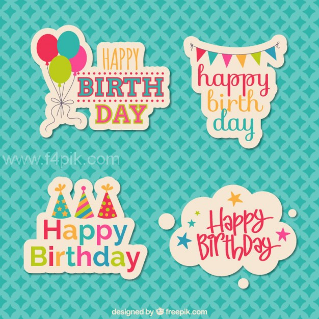birthday stickers ; Vector-Birthday-stickers-free-download