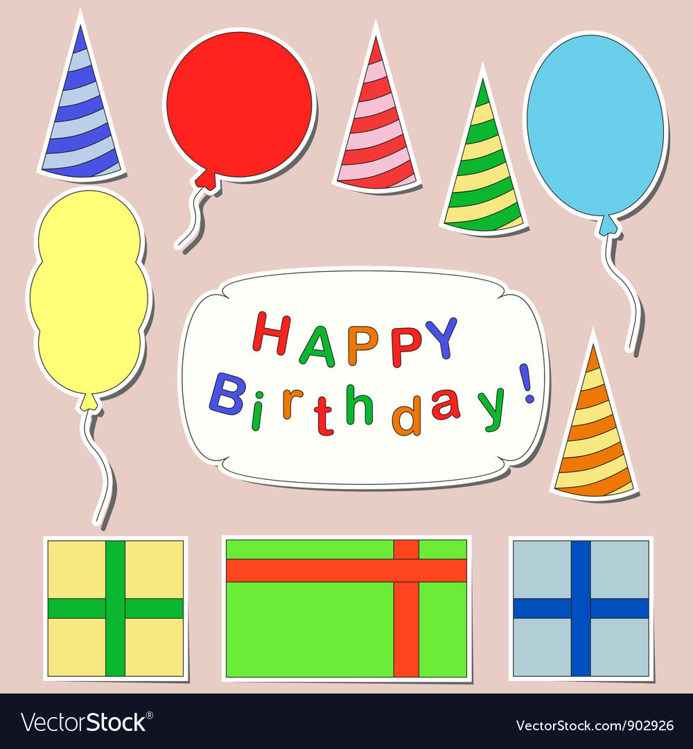 birthday stickers ; happy-birthday-stickers-set-vector-902926