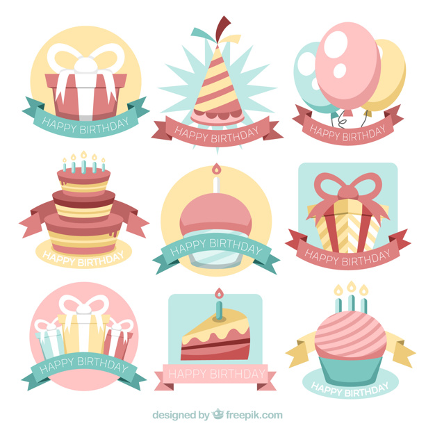birthday stickers ; pack-of-birthday-stickers-in-vintage-style_23-2147664723