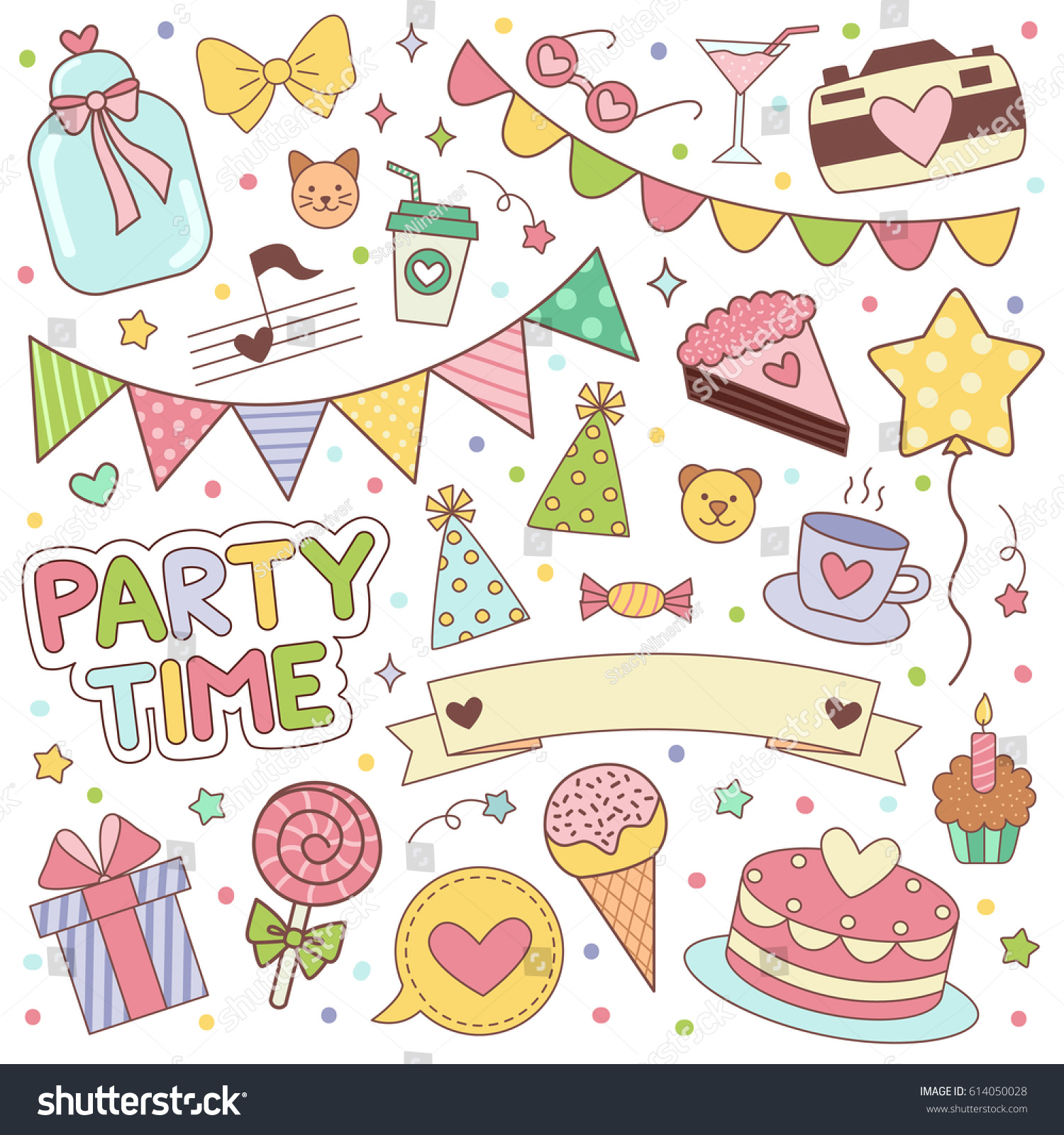 birthday stickers ; stock-vector-happy-birthday-stickers-set-vector-illustrartion-for-scrapbooking-and-decoration-planning-diary-614050028