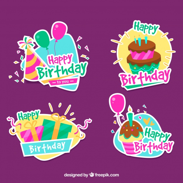 birthday stickers download ; pack-of-decorative-birthday-stickers_23-2147647458