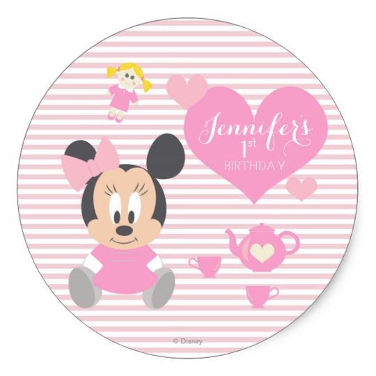 birthday stickers for babies ; minnie_mouse_first_birthday_classic_round_sticker-r7854829fbd9047079458d9f51dcaacbf_v9wth_8byvr_540