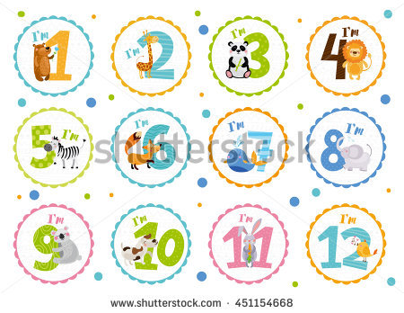birthday stickers for babies ; stock-vector-cute-birthday-stickers-with-animals-for-babies-451154668