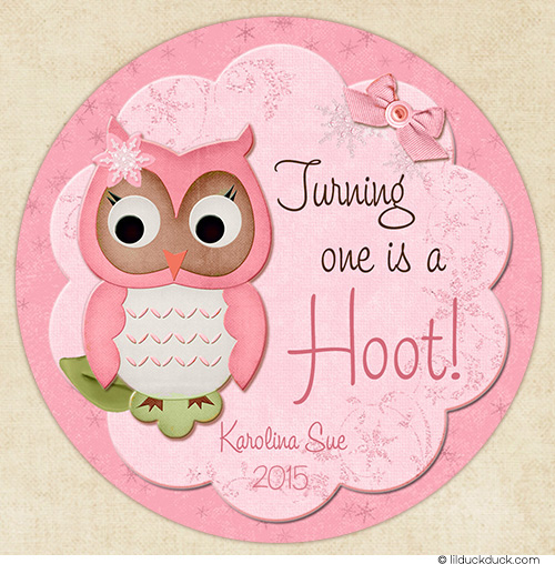 birthday stickers for babies ; winter-frost-pink-owl-turning-one-favor-stickers