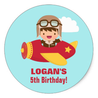 birthday stickers for boys ; cute_aviator_boy_airplane_birthday_party_classic_round_sticker-rc5df1b358a154e41858d89f27472e263_v9wth_8byvr_324