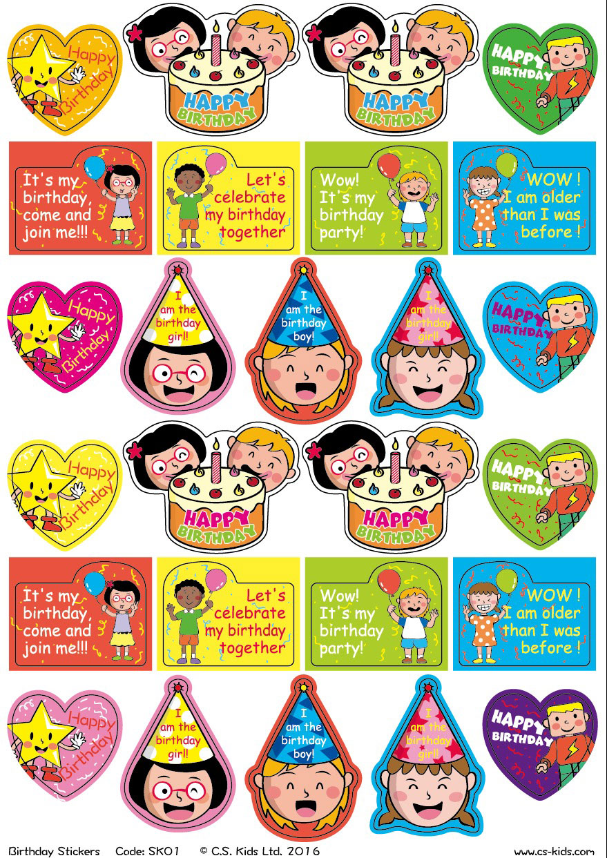 birthday stickers for pictures ; sk01