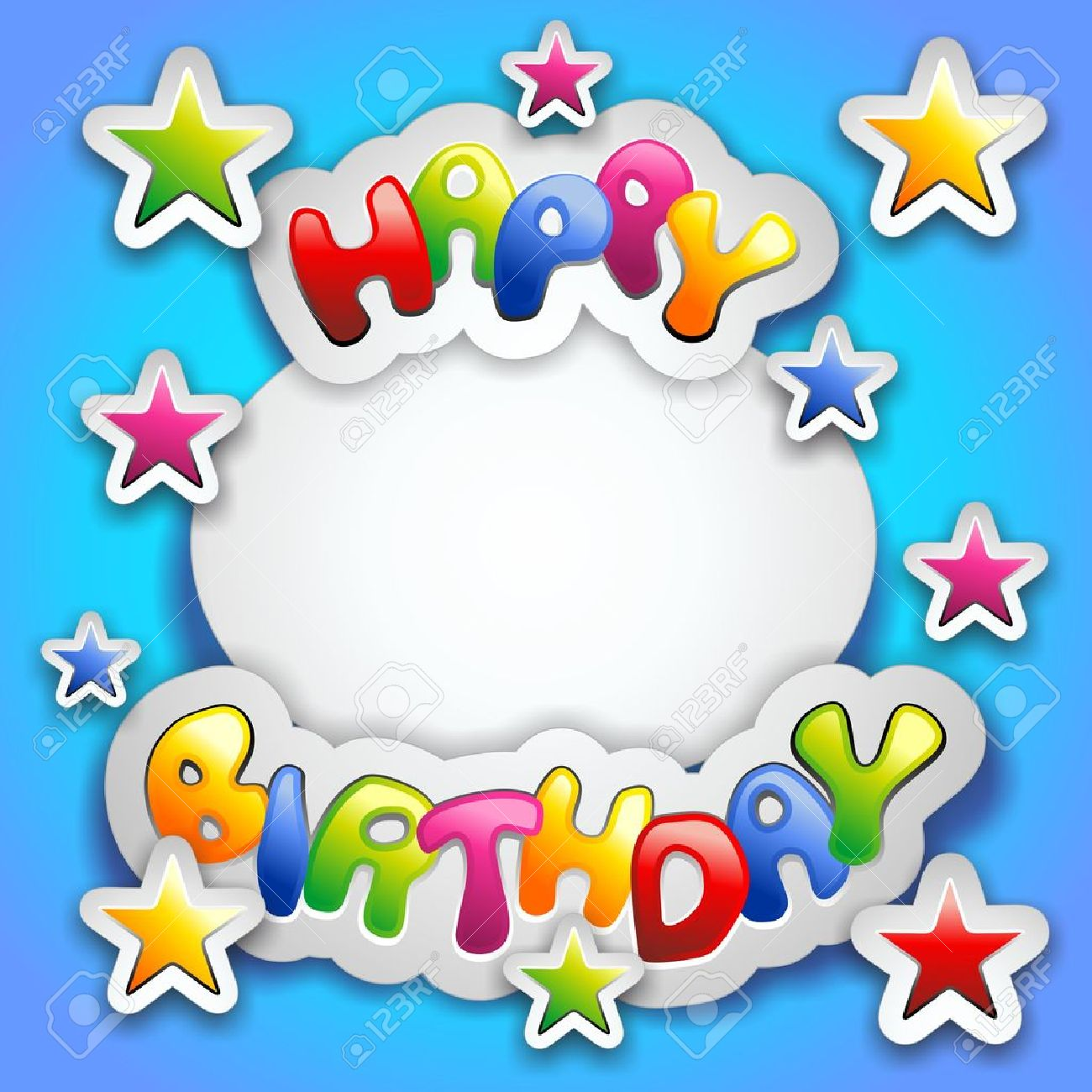 birthday stickers for text messages ; 19684775-happy-birthday-party-colorful-stickers-card