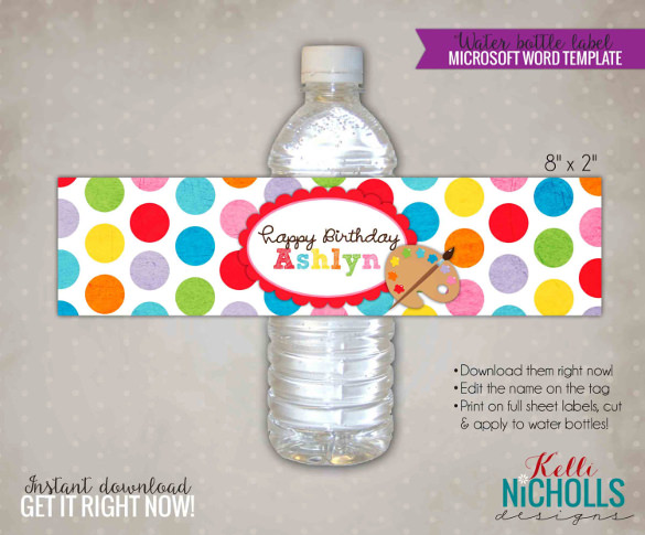 birthday water bottle labels template free ; Children-Art-Water-Bottle-Label-Template