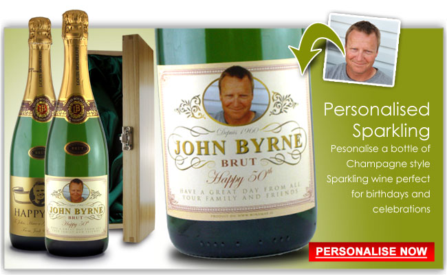 birthday wine label ideas ; personalised-champagne-gifts