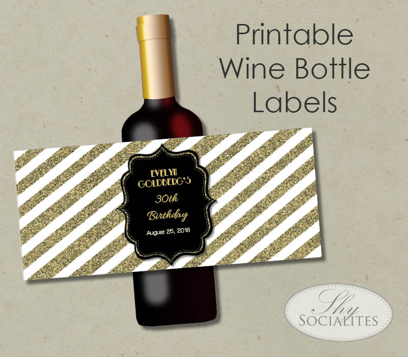 birthday wine label template free ; black-gold-glitter-printable-wine-label-hostess-gift-diy-wine-label-template