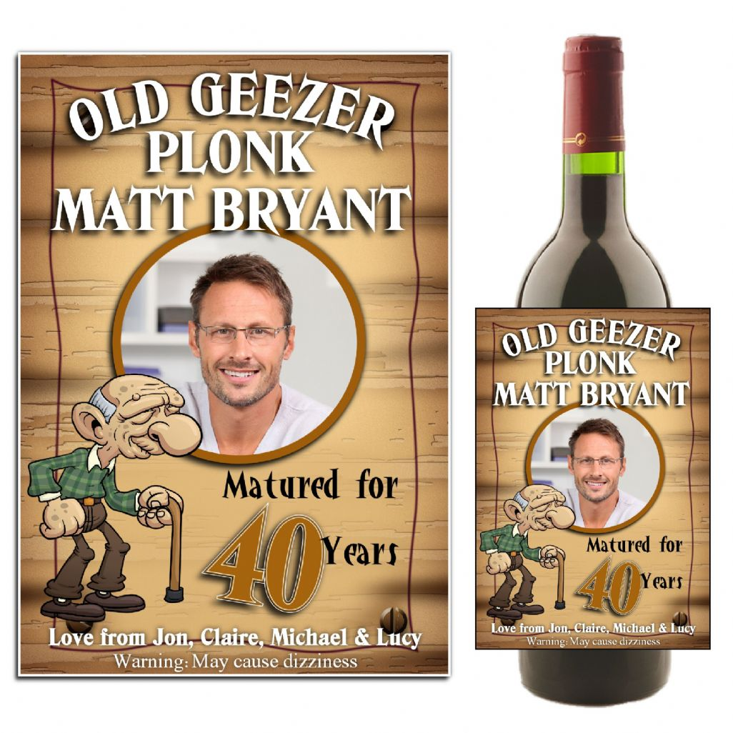 birthday wine labels ; personalised-old-geezer-birthday-wine-champagne-bottle-photo-label-n11-10828-p