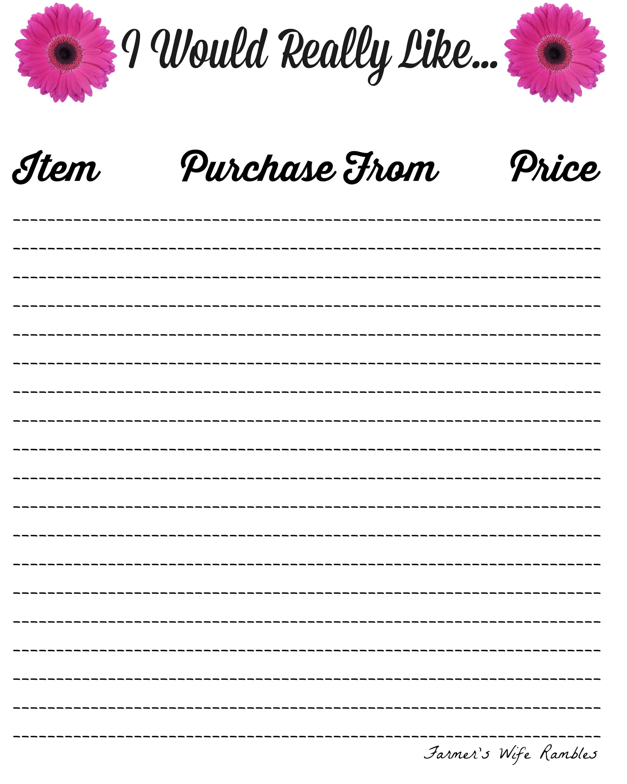 birthday wish list template printable ; I-Would-Really-Like-Pink-Daisies