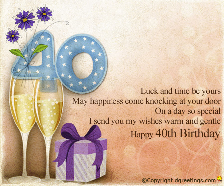 birthday wishes 40th birthday message ; luck-and-time