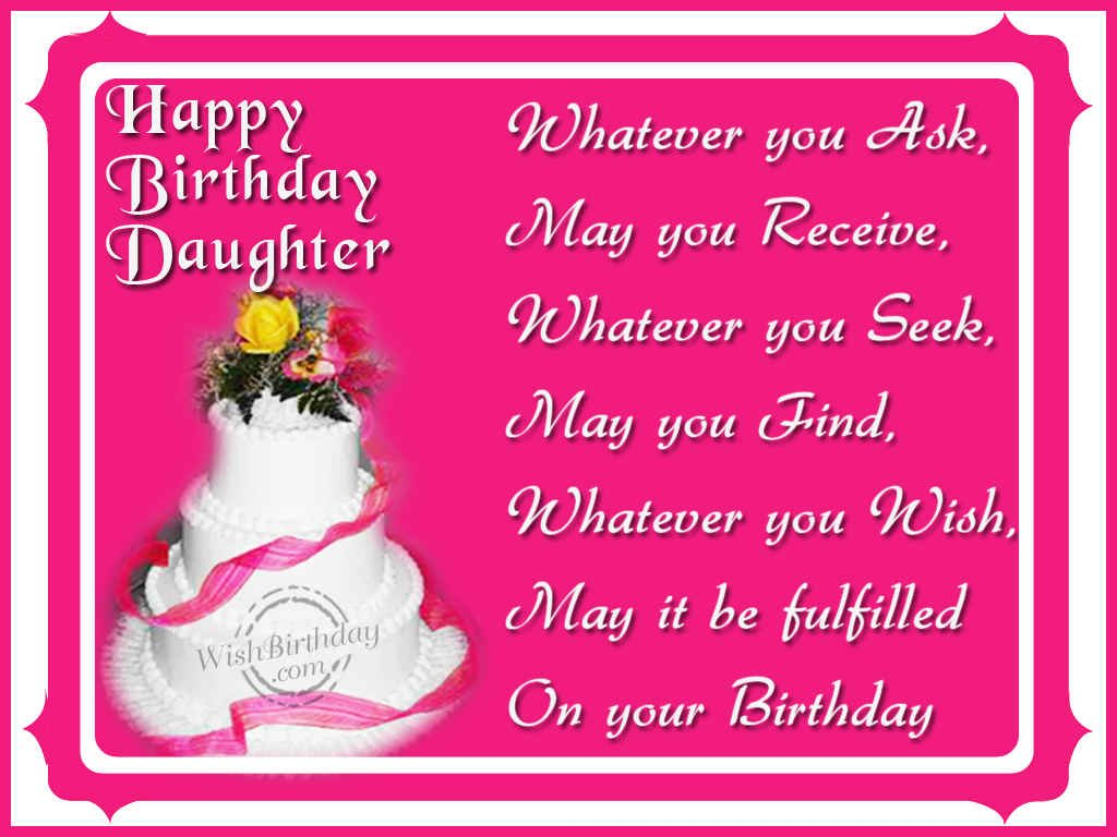 birthday wishes daughter greeting card ; 1125