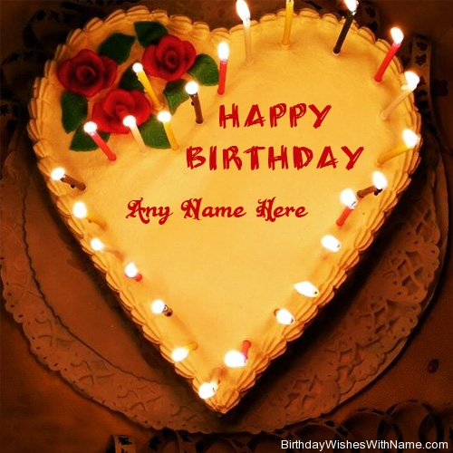 birthday wishes images with name and photo ; yellow-candles-heart-birthday-cake