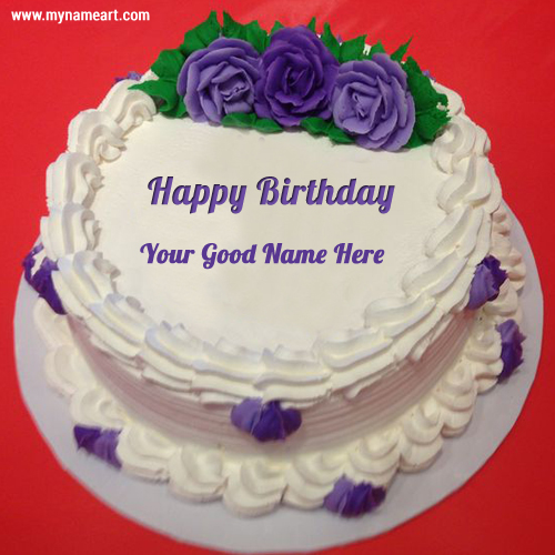 birthday wishes images with name and photo on cake ; birthday-purple-rose-name-cake-picture