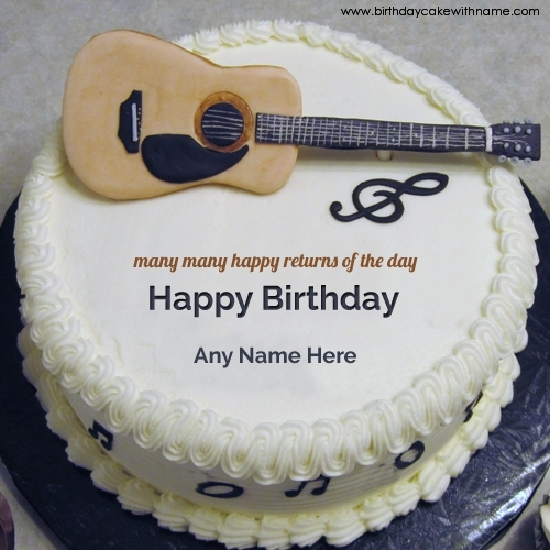 birthday wishes images with name and photo on cake ; guitar-birthday-wishes-name-cake-for-boys